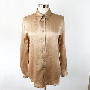 Equipment Femme Rose Gold Hammered Silk Blouse M